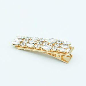 Bijoux Clear Crystal Gold Hair Clip - Medium